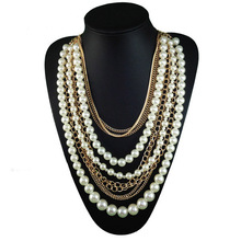 Fashion Long Multilayer Pearl Necklace Pendant Women Accessories Statement Necklace Choker Charm Girl Chain Party Jewelry