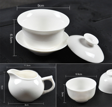 Free shipping Ceramic white 8 pcs set Chinese kung fu tea sets covered gaiwan set handpainted