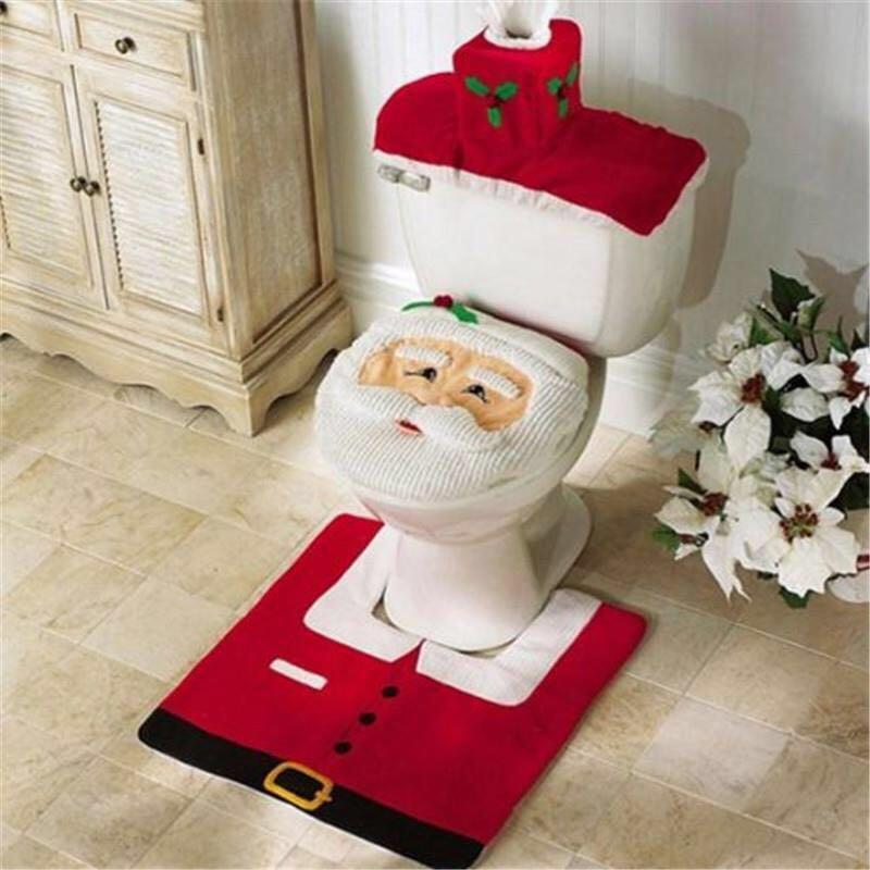1 Set 2016 Santa Claus Toilet Seat Cover and Rug Bathroom Set Contour Rug Christmas Decorations for Home Navidad Decoracion(China (Mainland))