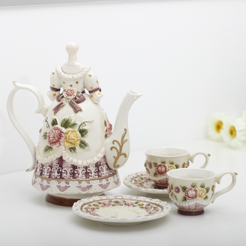 Ceramic bone china coffee tea sets coffee pot and cup for Home decorations china