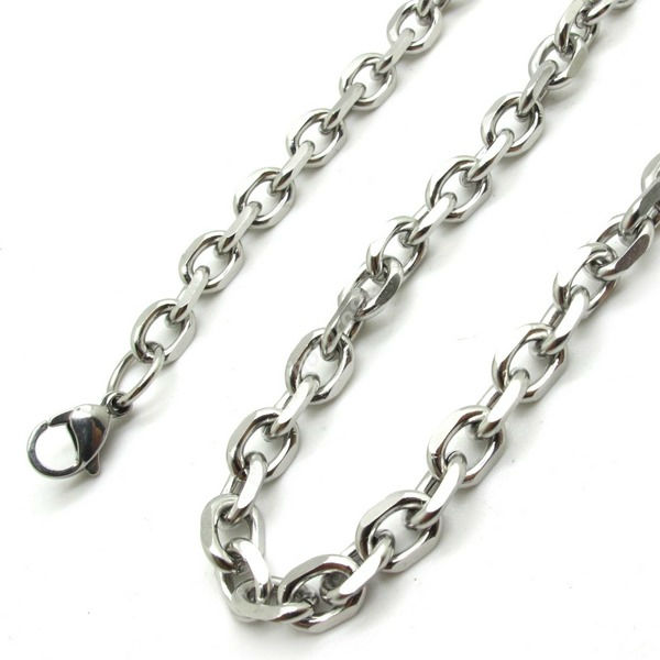 5mm24Inch Fashion Jewerly Mens Womans Silver Special Twins Chain 316L Stainless Steel Links Necklace Biker Free Shipping(China (Mainland))
