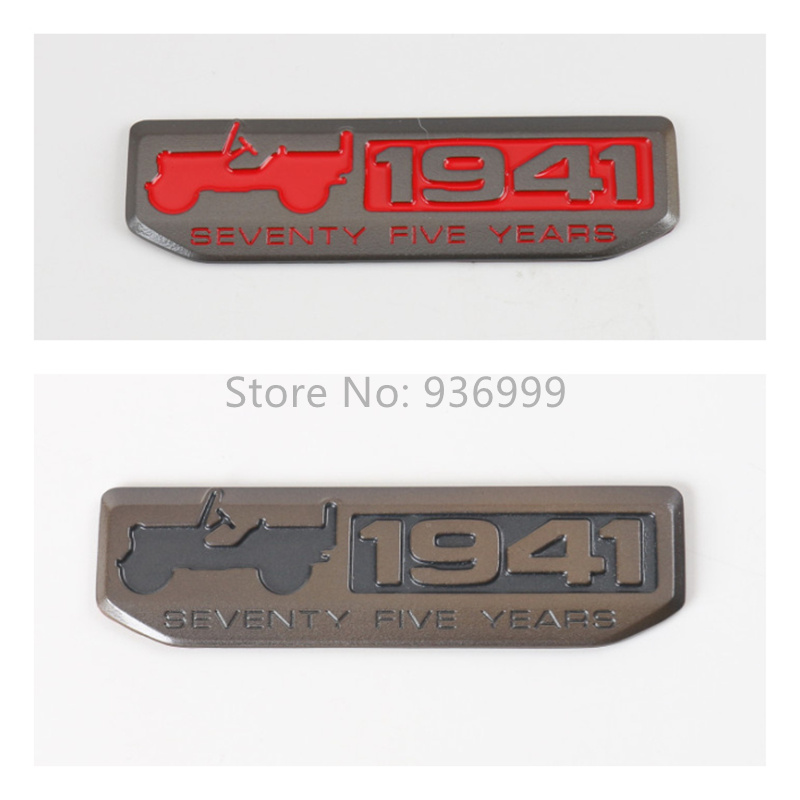 1Pcs Zinc-Alloy 1941s 75 Anniversary Car Body Sticker Suitable for Jeep Wrangler Compass Grand Cherokee Car Styling Accessories(China (Mainland))