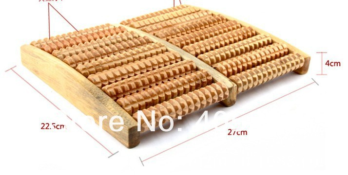 Free shipping 8 Row Wooden Foot Massager Wooden Roller Stress Relief Body Massage Feet Relax Spa wood massager(China (Mainland))