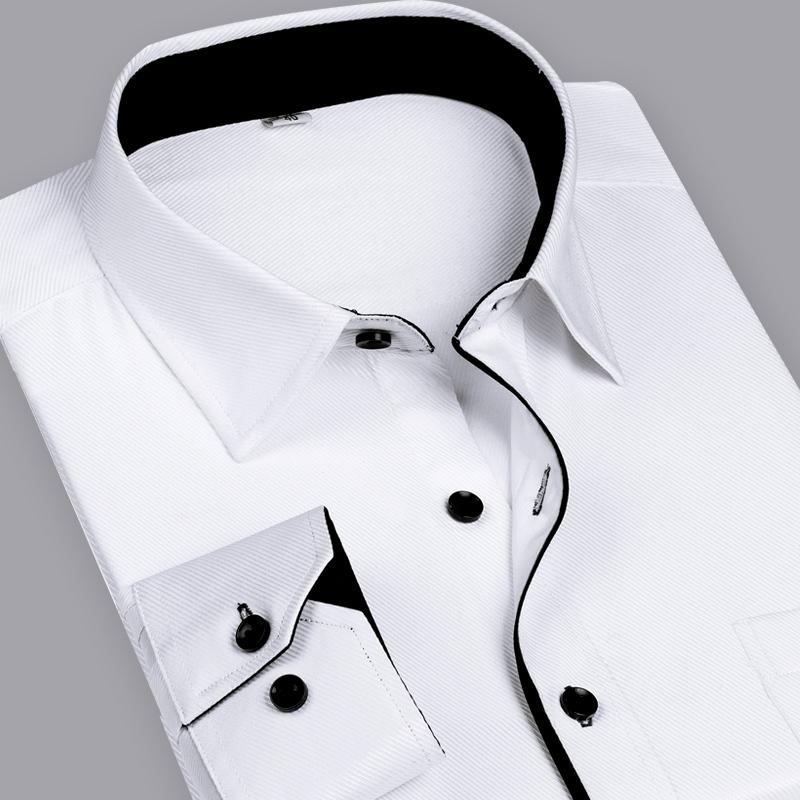 Men Dress Shirts 2015 Fashion Solid Color Shirt Mens Business Long Sleeve Slim Fit Formal Camisa Masculina Social Shirt Male 4XL(China (Mainland))