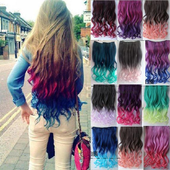 2 Tone Colored Ombre Hair Extensions Colorful Hair Clip in Hair Extensions Clip on Hairpieces Synthetic Hair Extensions(China (Mainland))