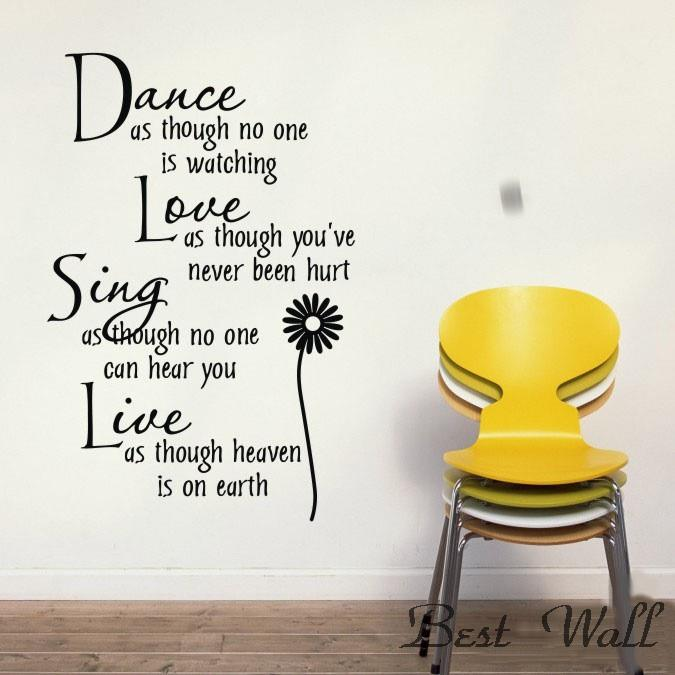 ,Dance Daisy wall stickers,home decoration,decorative stickers,words 3d wallpaper - Best Wall store