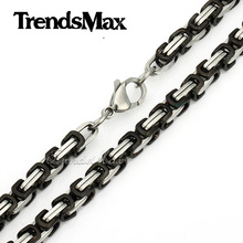 Customized 5 8mm Mens Chain BOYS Necklace Stainless Steel Necklace Box Black Silver Gold Tone Fashion