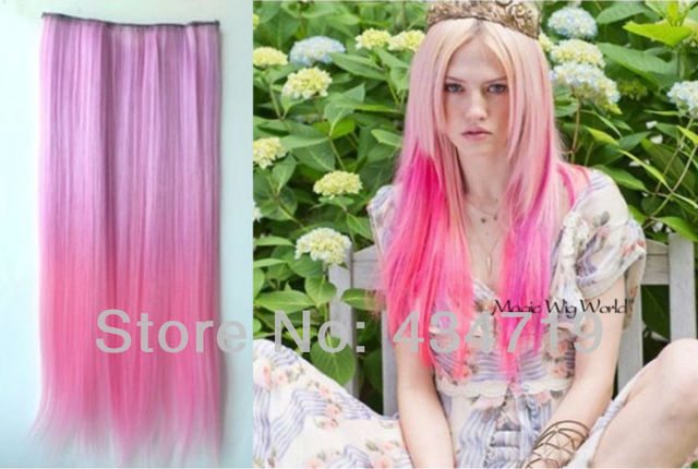Party funny Ombre Dip-dye Clip in Hair Extension 60cm Length Pink Straight for fashion women HS-008