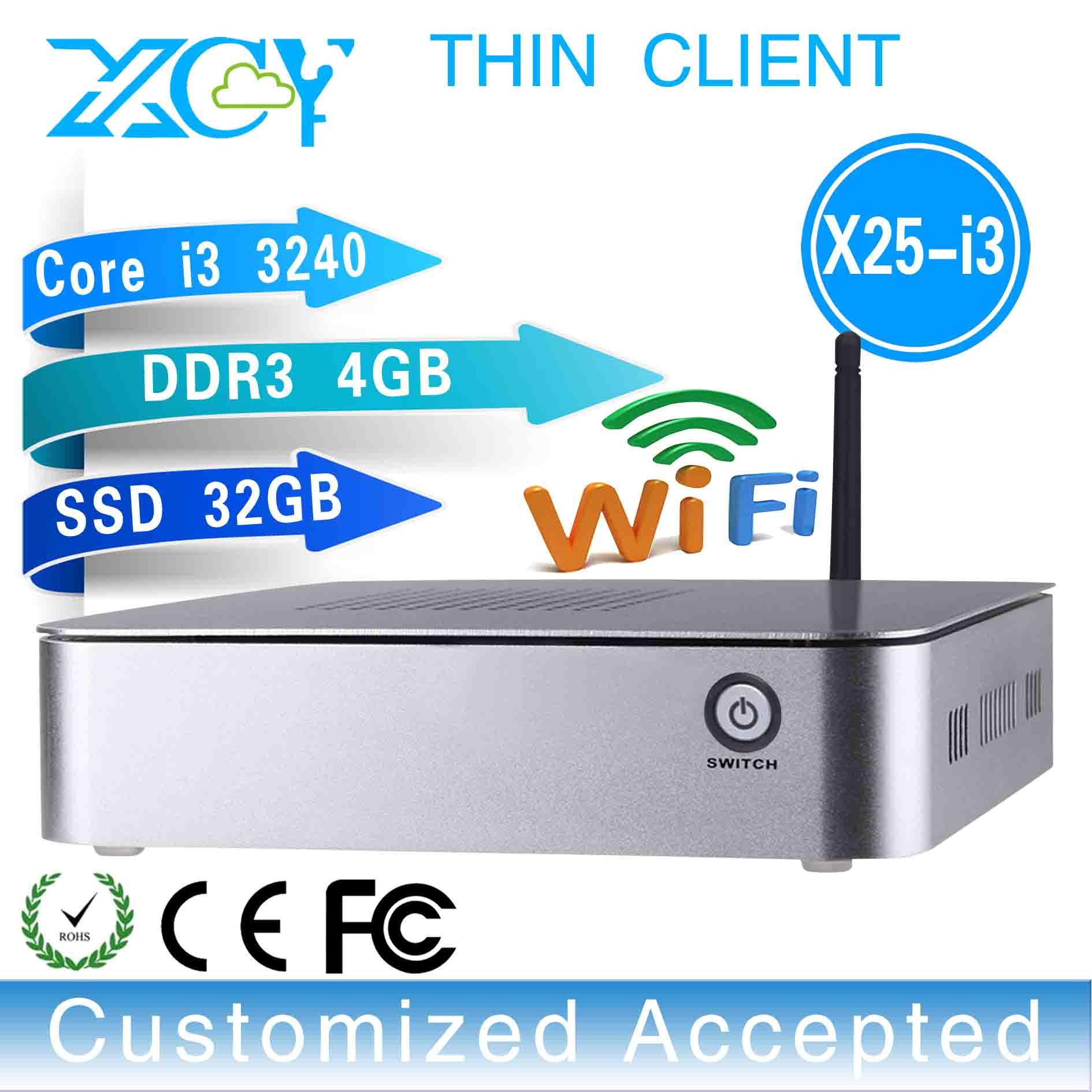 Facrory competitive price hot on sale X25-i3 Intel core i3 3240 latest desktop computers fan mini industrial pc(China (Mainland))