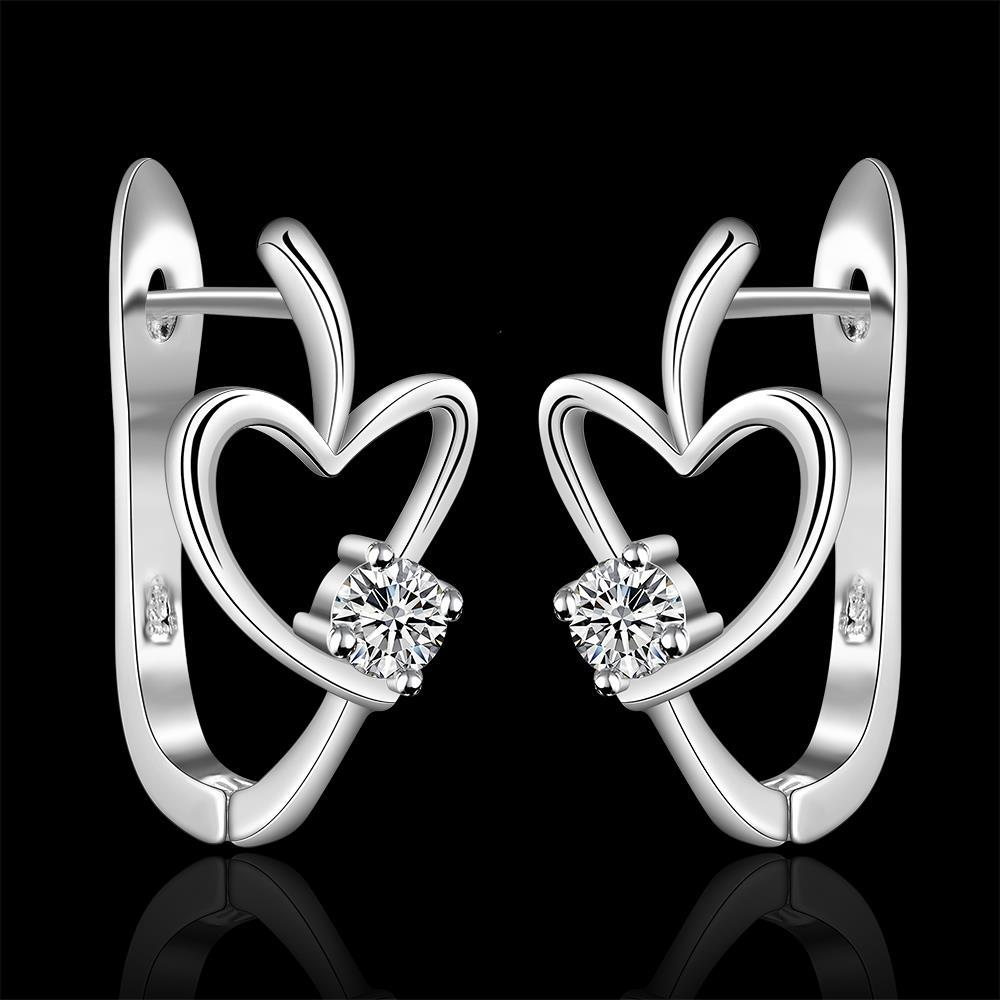 High Quality Brand New Novelty Design Heart Love Zircon Clip Earrings For Women Fashion Jewelry Fine Ear Cuff Accessories(China (Mainland))