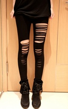 Fashion summer style Ladies Female Ripped Hole Punk Cut-out Gothic pants Tights Women Sexy Skinny Trousers Black(China (Mainland))