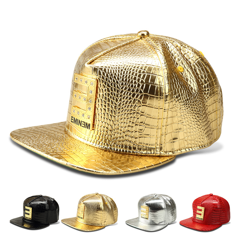 2016 Luxury Faux Leather Diamond Crocodile hip hop DJ hat Gold Rhinestone E EMINEM Logo Snapback Hats men women Baseball Caps(China (Mainland))