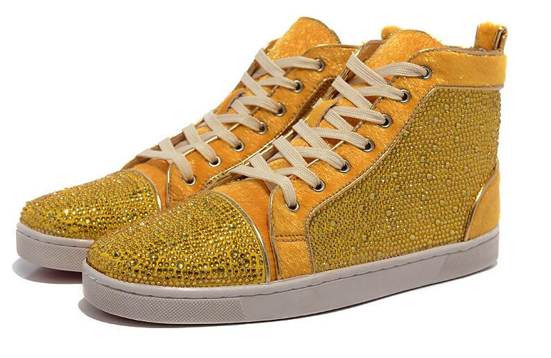 Free shipping crystal men shoes!! Designer men shoes red bottom yellow(China (Mainland))