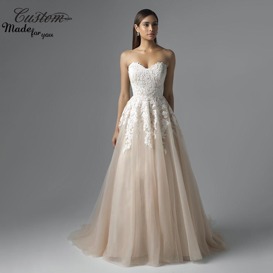 Fresh looking a line sweetheart tulle robe de soiree for Tulle and lace wedding dresses
