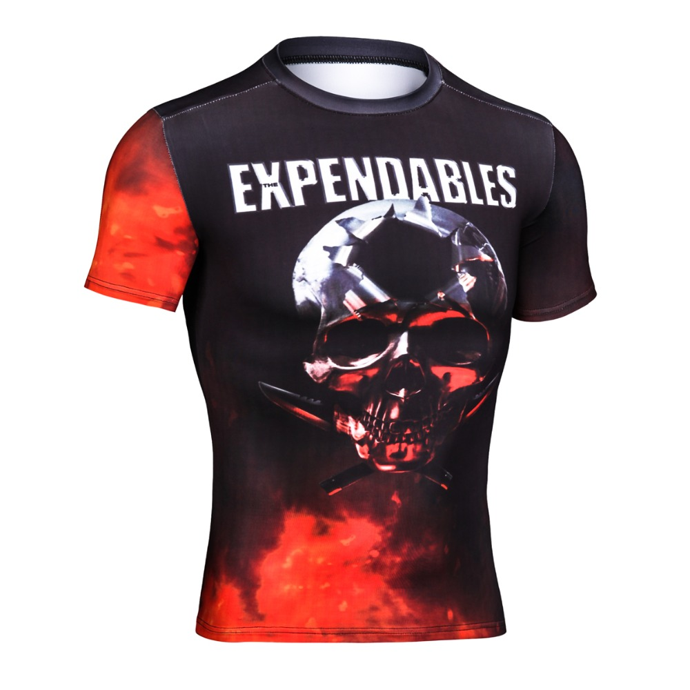 Marvel Superhero The Expendables 2 Stallone Classical Logo Punisher Shirt Gym Crossfit Tops Quick Dry Compression Shirt for Men(China (Mainland))