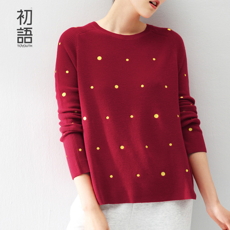 Toyouth New Arrival 2015 Women Contrast Color Polka Dot Pullover Long Sleeve Slim Tricotado Knitted Pullover Blusas FemininasОдежда и ак�е��уары<br><br><br>Aliexpress