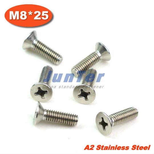 100pcs/lot DIN965 M8*25mm Stainless Steel A2 Machine Phillips Flat Head (Cross recessed countersunk head screws) Screw<br><br>Aliexpress