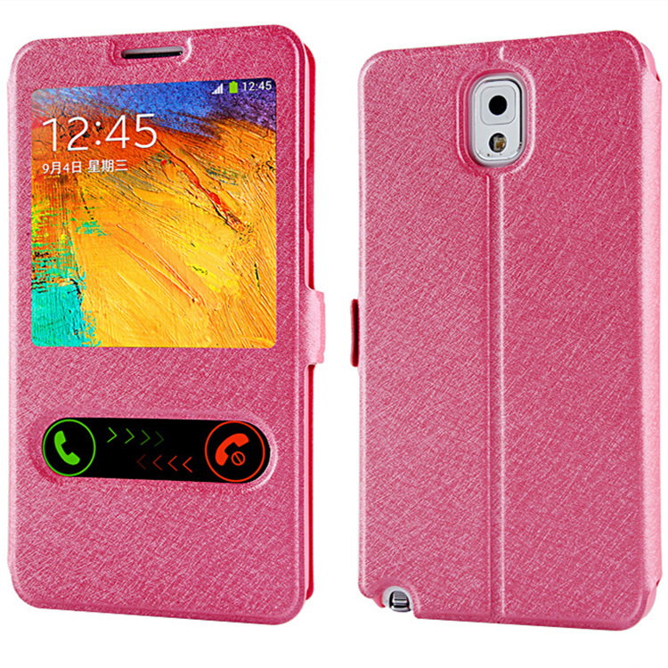 hot sale pu leather cell phone case for samsung galaxy note 3 note3 n9000 n9005 4g cover luxury flip open window view original(China (Mainland))