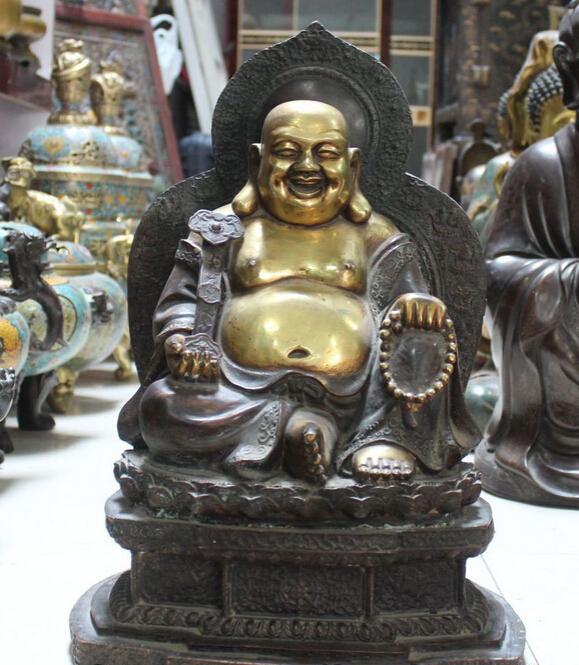 xiuli 002941 Purple Bronze Gilt 8 Auspicious Symbol Happy Laugh Maitreya RuYi Buddha Statue(China (Mainland))