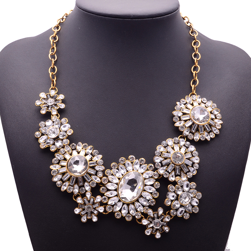 XG192 New Hot 2015 High Quality Ultra luxury Necklaces Pendants Big Long Crystal Flower Statement Necklace