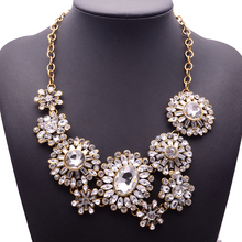XG192 New Hot 2015 High Quality Ultra-luxury Necklaces & Pendants Big Long Crystal Flower Statement Necklace Gold Chin Jewelry