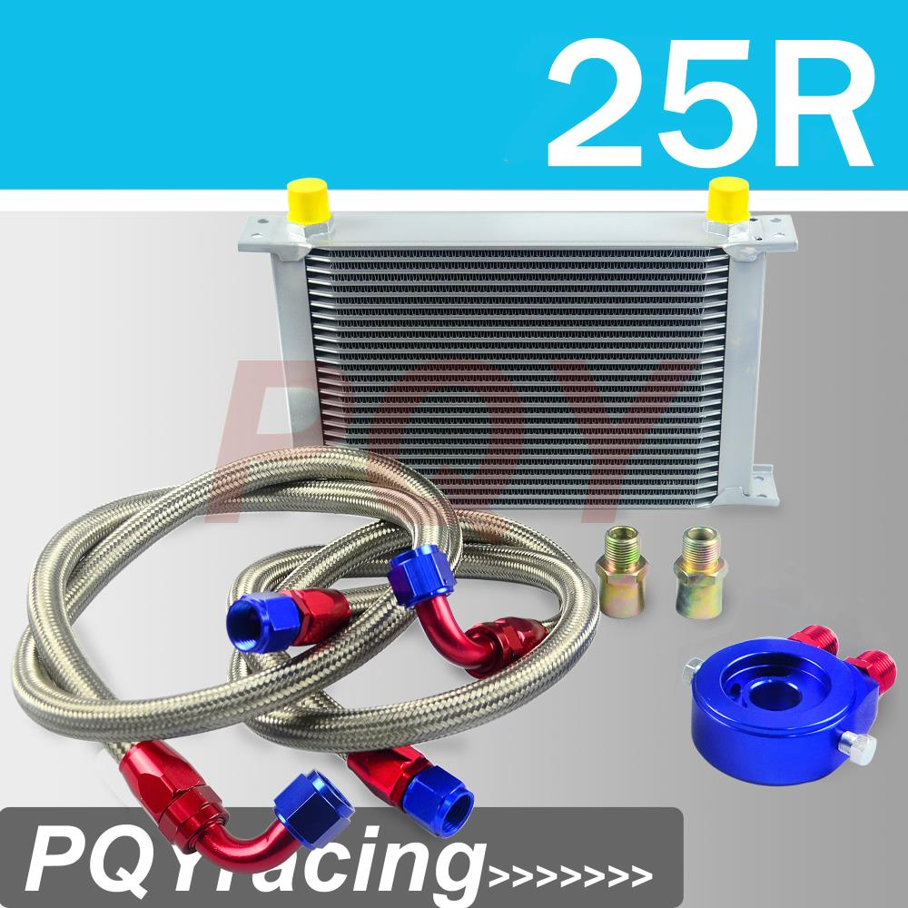 J2 STORE-AN10 OIL COOLER KIT 25RWOS TRANSMISSION OIL COOLER SILVER+OIL FILTER ADAPTER BLUE + STAINLESS STEEL BRAIDED HOSE(China (Mainland))