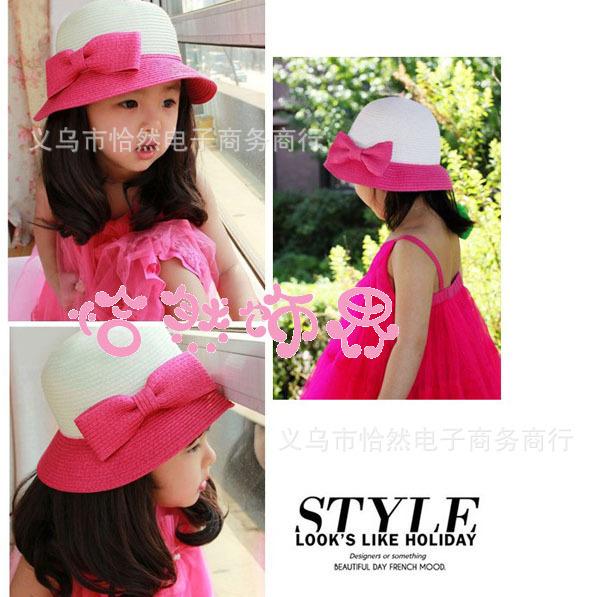 Children Accessories Beach Hats Floppy Sun Hat Baby Summer Hats Kids Accessories Fashion Cap Girls Hat 5pcs/lot free shipping(China (Mainland))