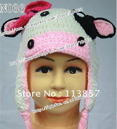 100-cotton-crochet-toddler-cow-hat-beanie-and-earflap ...