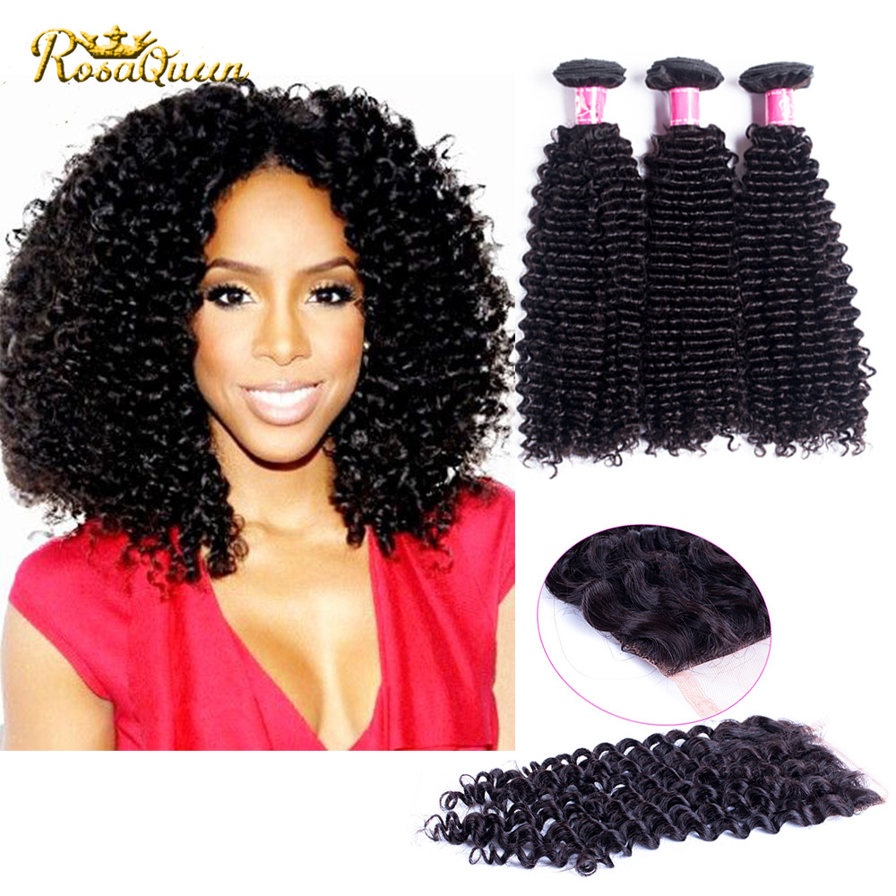 Brazilian Virgin Hair With Closure Brazilian Virgin Hair 3 Bundles Human Hair With Closure 8a Brazilian Kinky Curly With Closure