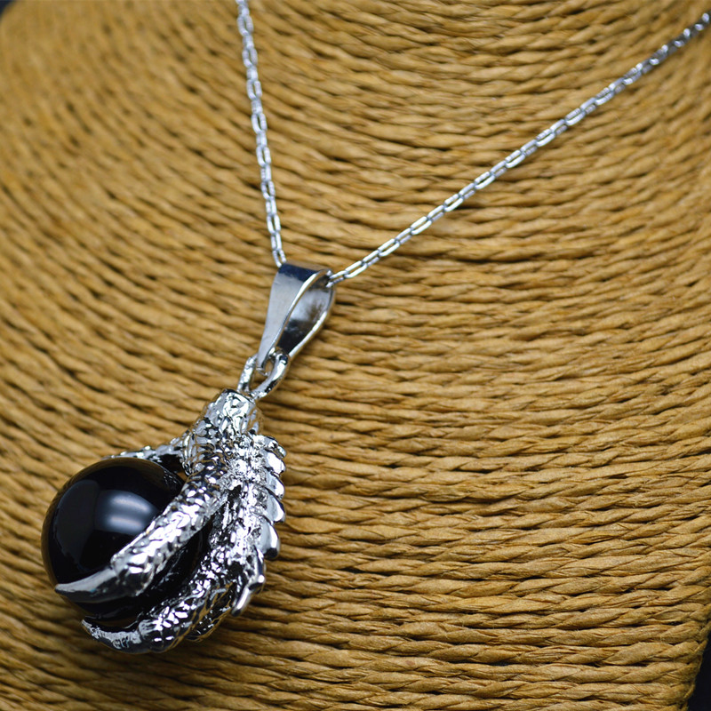 Dragon Claw Black Onyx Agate Ball Linked Chains Pendant Necklace Free Shipping(China (Mainland))