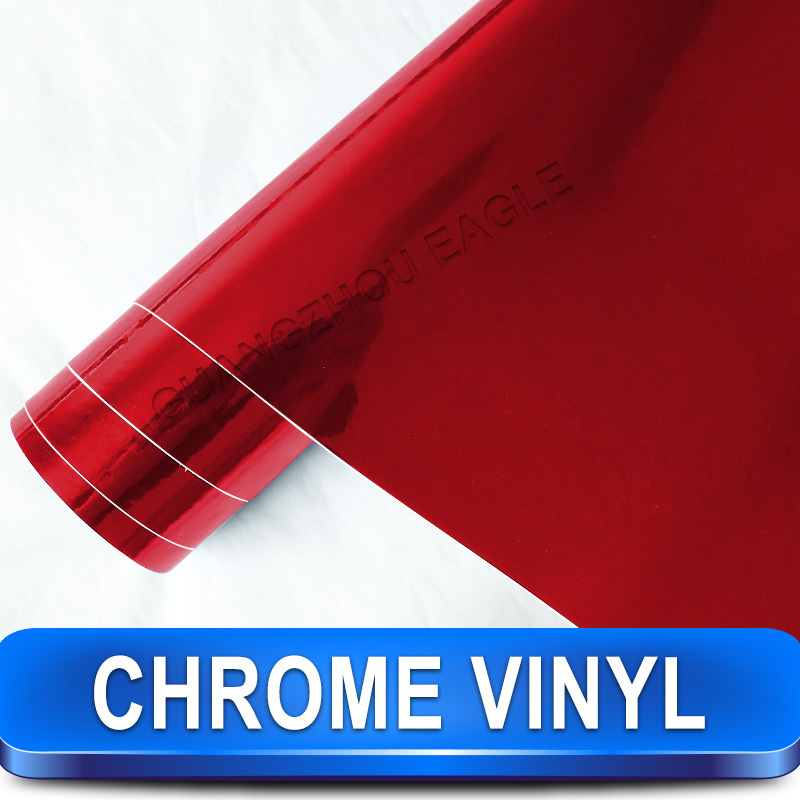 Chrome Red Polished Vinyl Sign Car Film Roll Wrap Best for Car Styling Size 1.52m x 30m(China (Mainland))