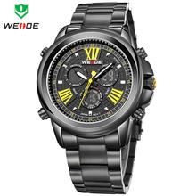 NEW WEIDE Brand Dual Time Japan Quartz Men s Military Watch Sports Watches Full Steel Wristwatch
