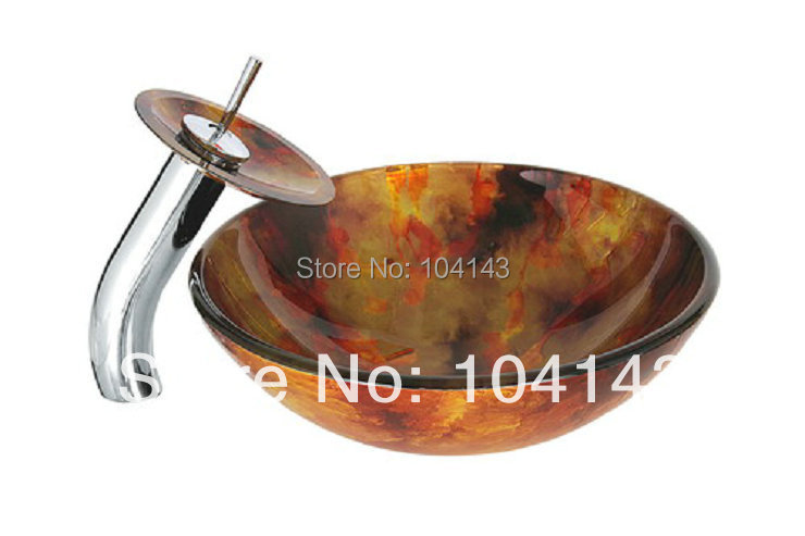 Single Hole Round Construction Real Estate Bath Fixtures Semi Counter Sinks Vessel Basins Set With Faucet
