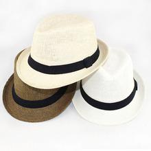 Baby Straw Fedora Hat with black ribbon Children Summer Sun Hat Kids Jazz Cap Top Hat Dicers BH0768(China (Mainland))