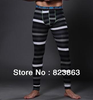 Striped men's cotton long underwear male tight backing warm pants Leggings  (Material:Cotton Size:M L XL)-Free shipping