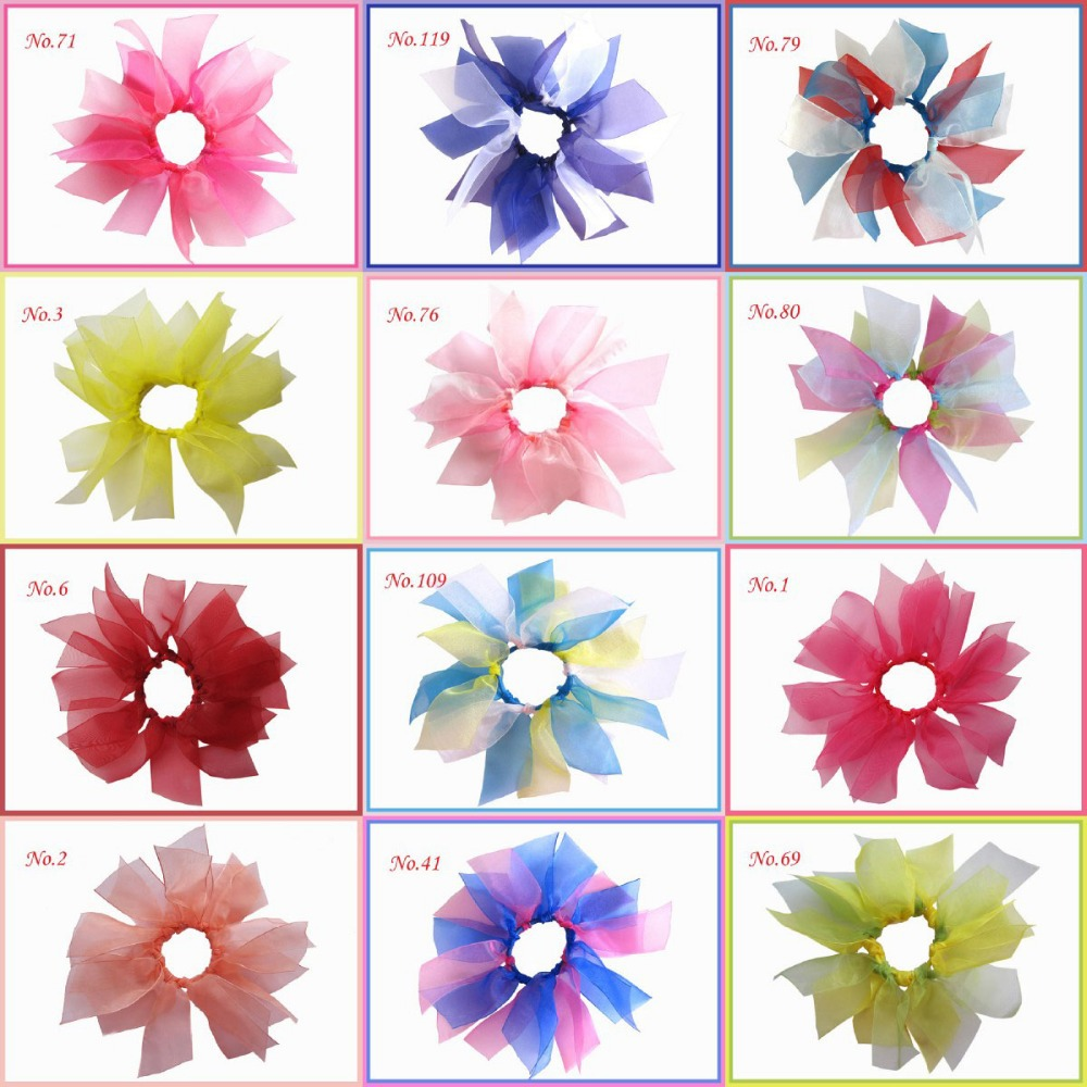 50pcs BLESSING Girls Organza PonyO Bow Ponytail Streamer 122 Style Hand Customize Hair Accessories Free Shipping(China (Mainland))