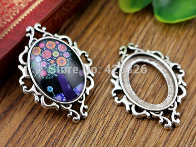 3pcs 18x25mm Inter Size Antique Silver Flowers Edge Cameo Cabochon Base Setting Charms Pendant necklace findings  -D182547<br><br>Aliexpress