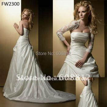 FW2300 Taffeta A-line Floor Length Lace Wedding Dresses