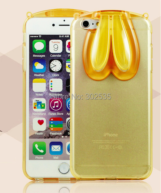 fashion cartoon rabbit rabito ear case for iPhone 6 plus 5.5inch transparent crystal TPU clear back stand cover free shipping(China (Mainland))