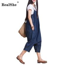 RealShe Осень женщин в Корейской Моде Свободные Повседневная Комбинезон Для Женщин Мода Синий Спагетти Ремень Осень Корейской Комбинезон(China (Mainland))