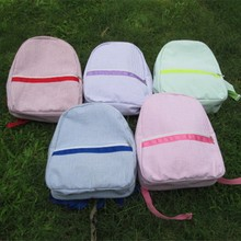 Ready in Stock Seersucker Cotton School backpack, Wholesale Pink Seersucker Backpack with Padded strap in 6 colors DOM-101031(China (Mainland))