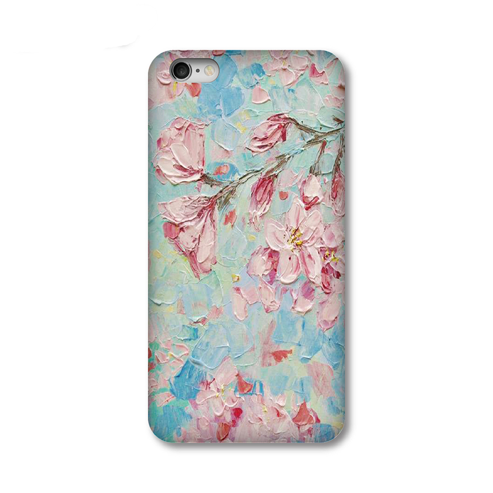 2016 New Original vintage cherry printing all-inclusive border fell slim hard plastic Phone bag case for iPhone 5S 6 6S Plus(China (Mainland))