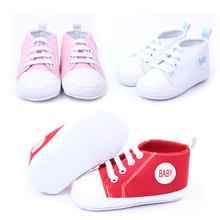Free Shipping Cute Classical Infant Prewalker Comfy Lovely Baby Soft Sneaker Antiskid Lace Up Canvas Trainers Crib Shoes 3-18M