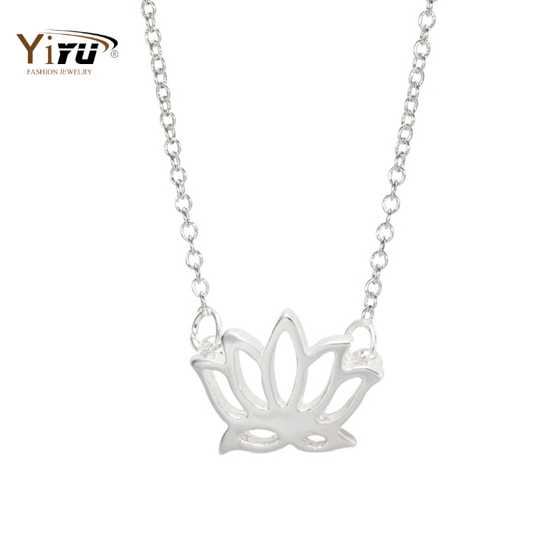 30pcs/lot Lotus Flower Pendant Necklace Women 2015 New Popular Cute Plant Long Chain Gold Silver Simple Dainty Wholesale N022(China (Mainland))