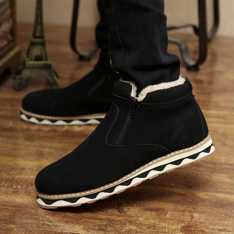 Winter thermal plus velvet male cotton-padded shoes high-top thickening sports casual skateboarding men's - Running charm store