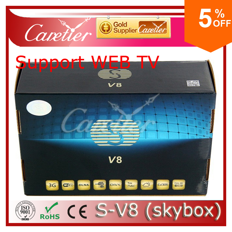 Original S-V8 HD satellite receiver S V8 support 2USB USB Wifi WEB TV Cccamd Newcamd YouTube YouPorn Free Shipping(China (Mainland))