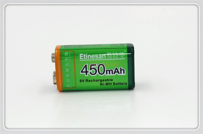 ETINESAN 9v 450mAh Ni-MH Rechargeable 9 Volt NiMH Battery strong and excellent Free Shipping(China (Mainland))