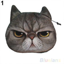 New Cute Cat Face Zipper Case Coin Purse Wallet Makeup Buggy Bag Pouch 1DPL