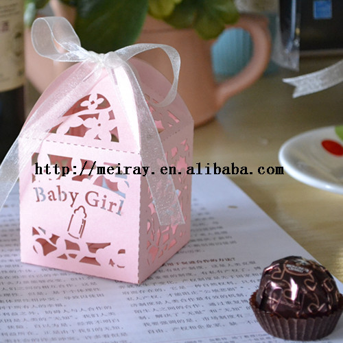 wholesale paper crafts baby shower candy boxes favor small flower baby
