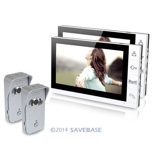 "HOMSECUR 9"" Wired Video Door Phone Home Intercom System 2 Monitors 2 Silver Camera 700TVL(China (Mainland))"